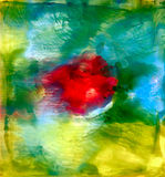Abstract painted smudged spots with red. Colorful background hand drawn with bright inks and watercolor paints. Color splashes and splatters create uneven Royalty Free Stock Photography