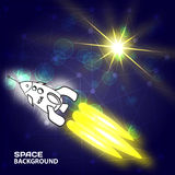 Abstract painted space background with a flying rocket and sun stock illustration