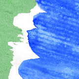 Abstract painted watercolor background. Abstract green, white and blue watercolor background Royalty Free Stock Photography