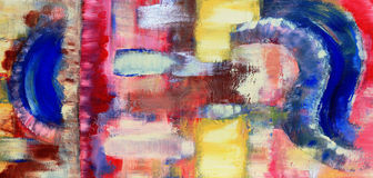 Abstract Painting. Warm and cool tones in an abstract oil acrylic painting Stock Photo