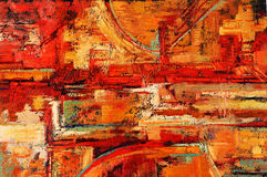 Abstract Painting. Abstract oil painting in reds and yellows royalty free stock photo