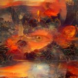Armageddon. Abstract painting. Armageddon. Angel, all seeing eye and rocket. Human elements were created with 3D software and are not from any actual human vector illustration