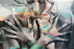 Abstract Painting Art: Feminine Face and Hands Stock Images