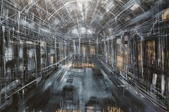 Abstract Painting Art: Inside Gallery, Gray, White and Black Col