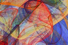 Abstract painting background of colorful fluttering veils royalty free stock photo