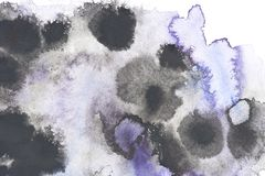 Abstract painting with black and blue paint blots. On white royalty free stock photography