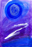 Abstract painting in blue and purple Stock Images