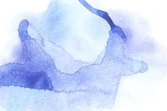 Abstract painting with blue watercolor paint blots. On white royalty free stock photos