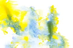 Abstract painting with blue and yellow watercolor paint blots. On white royalty free stock photos