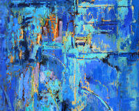 Abstract Painting in Blues. Abstract oil painting with predominant blues Royalty Free Stock Images