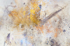 Abstract painting with blurry and stained structure. metal rust effect with glitter grains. Painting on old paper. Stock Photography