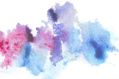 Abstract painting with bright blue and pink paint blots. On white stock photo