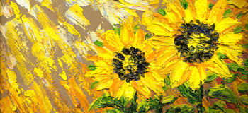 Abstract painting. Bright sunflowers on the field vector illustration