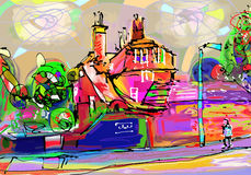 Abstract painting of british village, digital art Stock Photos