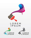 Abstract painting brush emblem design Royalty Free Stock Photo