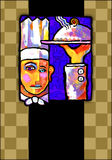 Abstract painting of a chef. A Picasso inspired paiting of a chef serving dinner stock illustration