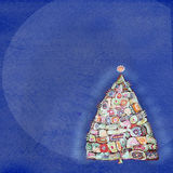 Abstract painting christmas tree. Design template with place for your text. Royalty Free Stock Image