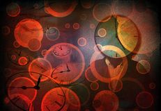 Clock. Abstract painting. Circles. Man with clock head vector illustration