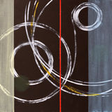 An abstract painting, circular theme. An abstract painting featuring rings and other circutar elemrnts Stock Photo