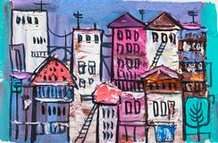 Abstract painting of city buildings stock photography