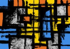 Abstract painting. Abstract colorful painting with rectangular pattern stock illustration