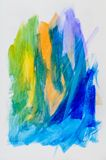 Abstract painting, coloured ink on white paper. Stock Photos
