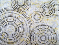 An abstract painting. Constructed from concentric circles on a grunge background Royalty Free Stock Image