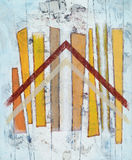 An abstract painting. Constructed roughly painted on a grunge bacjground; has a chevron motif Royalty Free Stock Photo