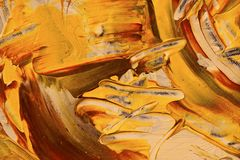 Abstract background, Yellow rocks. Abstract painting detail. Oil on canvas yellow and red Stock Images
