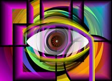 Abstract painting of eye inside a shell. Stock Photo