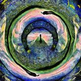 Tunnel of souls. Abstract painting. Figure of man on stone`s road to another world. Warped space Stock Image