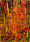 ABSTRACT PAINTING OF FIRE. Colorful Abstract Painting created with Acrylics and Ink, of Fire in the style of impressionist abstraction Stock Image