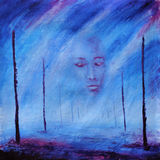 Abstract painting. Foggy face. After death. Road of life. Poles. Purple. Royalty Free Stock Photo
