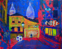 Abstract painting of the footbal on Montmartre Stock Image