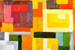 Abstract Painting Fragment. Abstract texture background of an original oil geometric painting close-up fragment on canvas with brush strokes Royalty Free Stock Photo