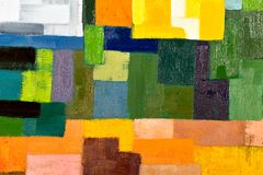 Abstract Painting Fragment. Abstract texture background of an original oil geometric painting close-up fragment on canvas with brush strokes Stock Images