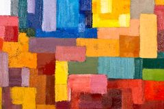 Abstract Painting Fragment. Abstract texture background of an original oil geometric painting close-up fragment on canvas with brush strokes Stock Photo