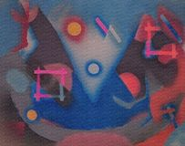 Abstract painting with geometric figures. 3D rendering Stock Images