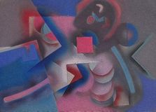 Abstract painting with geometric figures. 3D rendering Stock Illustration