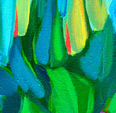 Abstract painting with green blue spots, illustration Royalty Free Stock Photo