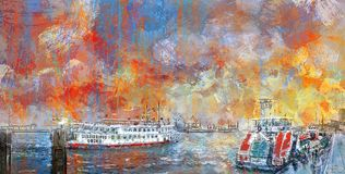 Abstract painting of the harbor in Hamburg Royalty Free Stock Photography