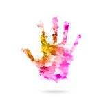 Abstract painting human hand in colors - Artwork hand - Kids hand in paints - Global support Stock Images