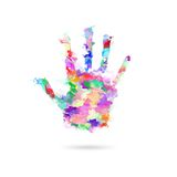 Abstract painting human hand in colors - Artwork hand - Kids hand in paints - Global support Royalty Free Stock Image