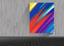 Abstract painting image long shadow on brick pattern texture background with wooden floor in studio. To adapt idea for living room,interior,furniture,gallery Royalty Free Stock Photography