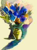 Abstract painting imagination colorful of beauty flowers bouquet Royalty Free Stock Photography