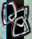 An abstract painting; Interlocking Flask Shapes. On a Black Background Stock Photography