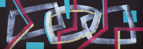 An abstract painting; Interlocking Shapes on a Black Background Stock Photos