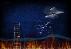Ladder to sky. Abstract painting. Ladder leading from fire to sky. Image composed entirely of text, words royalty free stock photo