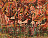 ABSTRACT PAINTING OF LIONS. Colorful Abstract Painting created with Acrylics and Ink, of Lions drinking at a Watering Hole at sunset vector illustration