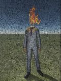 Burning Man. Abstract painting. Man with fire instead of head. Image composed entirely of text, words Stock Photos